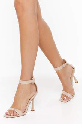 Nasty Gal Womens Standing on Higher Ground Faux Leather Stiletto Heels - Beige - 5