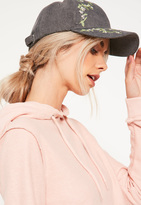 Missguided Grey Floral Blossom Embroidered Cap