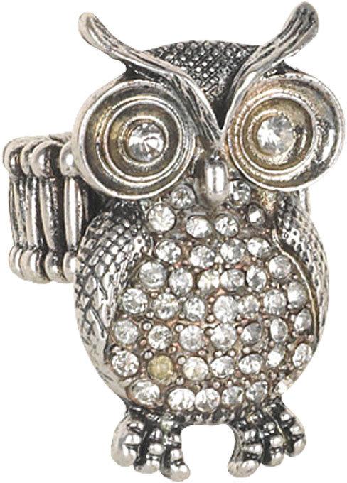 Delia's Crystal Owl Stretch Ring