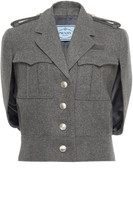 Prada Cape-Effect Wool-Boucle Jacket