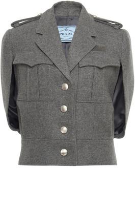 Prada Cape-Effect Wool-Boucle Jacket
