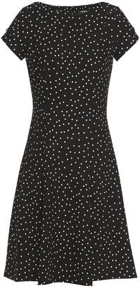 DKNY Flared Polka-dot Stretch-crepe Dress