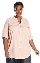 Calvin Klein Women's Plus-Size Modern Essential Button-Front Blouse