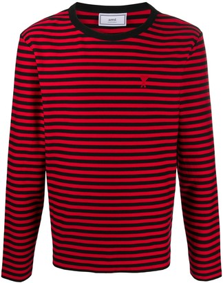 AMI Paris Ami de Cur embroidered striped top