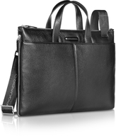 Piquadro Modus - Expandable Black Calfskin Slim Briefcase