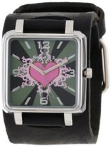 Nemesis Women's GHST828P Classic Pink Heart Leather Cuff Quartz Watch