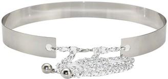 Mega Women Fashion Metal Waist Belt Adjustable Mirror Plate Waistband Belt Silver 3cm