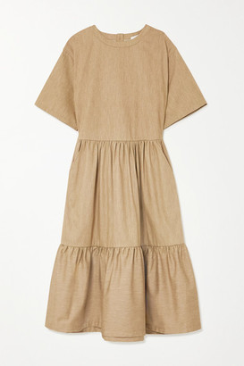 KING & TUCKFIELD Tiered Cotton Midi Dress - Mushroom