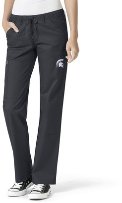 Women's Charcoal Michigan State Spartans Straight Leg Scrub Cargo Scrub Pants