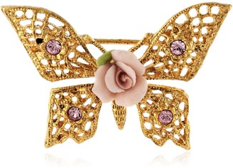 1928 Jewelry Gold-Tone Pink Porcelain Rose Butterfly Filigree Brooch