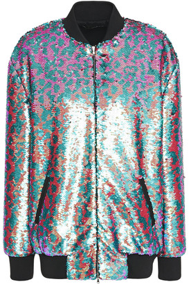 Dundas Appliqued Sequined Tulle Bomber Jacket