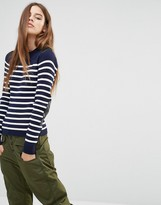 G Star G-Star Stripe Knit Sweater With Leather Look Panels