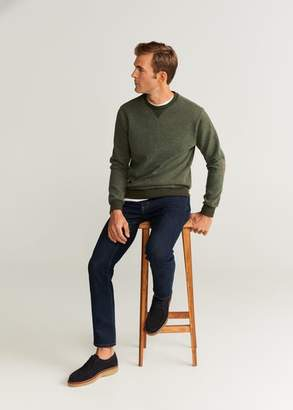 MANGO MAN - Elbow-patch textured sweatshirt green - XS - Men