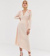 Asos Tall DESIGN Tall embroidered wrap midi dress