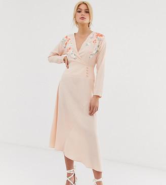 Asos Tall DESIGN Tall embroidered wrap midi dress-Pink