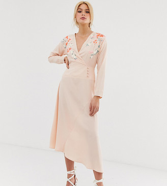 Asos Tall ASOS DESIGN Tall embroidered wrap midi dress