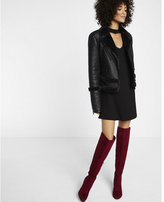 Express faux suede thigh high boot