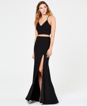 B. Darlin Juniors' 2-Pc. Lace-Back Slit Gown