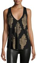 Haute Hippie Talitha Stretch Jersey Paisley Tank, Black