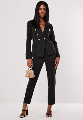 Missguided Black Co Ord Military Blazer