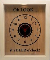 Wicked Good Candle and Decor Wooden Shadow Box Clock Wine Cork/Bottle Cap Holder - Oh Look It's Beer O'Clock