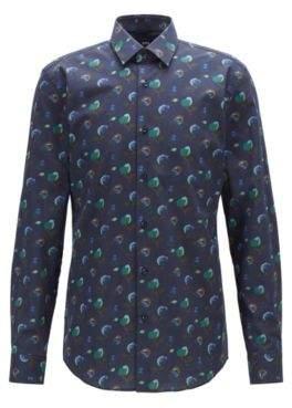 BOSS Slim-fit shirt in floral-print Italian cotton poplin