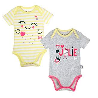 Camilla And Marc Set of 2 Baby Girl's Bodies Grey & Pretty Stripes Size 9 Months (74 cm)