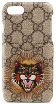 Gucci Embroidered Angry Cat Gg Supreme Iphone 7 Case - Beige