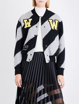 Off-White Striped wool-blend bomber jacket
