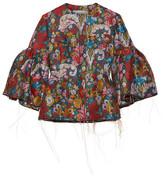 Marques Almeida Marques' Almeida - Frayed Floral-jacquard Jacket - Red
