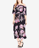City Chic Trendy Plus Size Printed Off-The-Shoulder Jumpsuit
