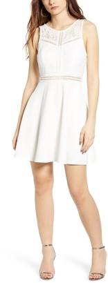 Speechless Lace Trim Fit & Flare Scuba Crepe Dress