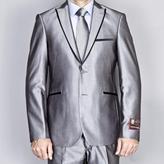 Fiorelli Giorgio Men's Silver Grey Modern Lapel Slim-Fit Suit