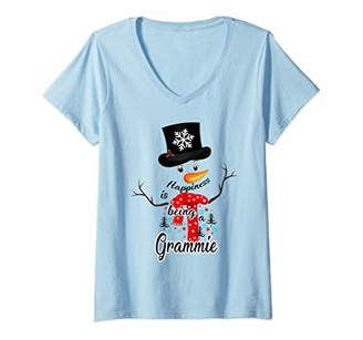 Womens Cute Happiness Is Being A Grammie Snowman Xmas V-Neck T-Shirt
