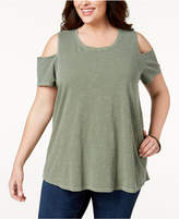 Style&Co. Style & Co Plus Size Cold-Shoulder T-Shirt, Created for Macy's