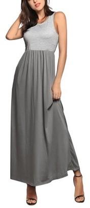 Centerlinkmedia Women's Maxi Dress Stripe Printed Autumn Casual Tunic Long Maxi Dress Grey , Medium