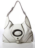 Dolce & Gabbana White Pebbled Leather Silver Tone Embellished Medium Shoulder Ba