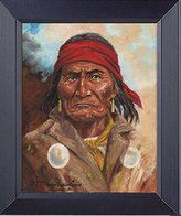 Native American Indian The Last Apache Warrior Geronimo Framed Canvas Print 14 X 17 Overall Size Wall Decor Art