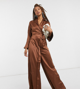 Verona jumpsuit with wrap front detail in chocolate