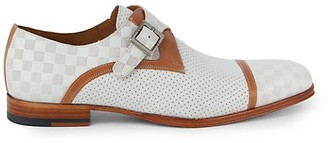 Mezlan Grid Perforation Leather Monk-Strap Oxford Loafers