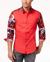Versace Men's Pattern-Blocked Stretch Shirt
