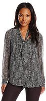 Calvin Klein Women's Printed Blouse with Detachable Scarf