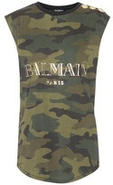 Balmain Sleeveless camouflage cotton top