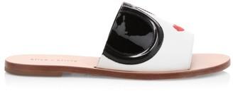Alice + Olivia Hazel Stace Face Leather Slides
