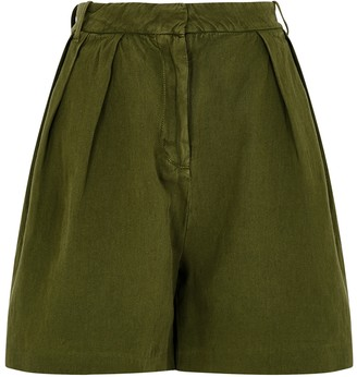 Samsoe & Samsoe Samse Samse Maud Army Green Cotton-blend Shorts