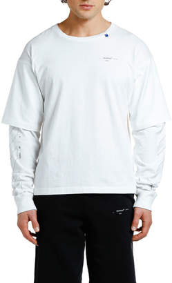 Off-White Men's Diagonal Unfinished-Sleeve T-Shirt