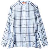 Joe Fresh Women's Plaid Peplum Back Shirt, Light Blue (Size S)