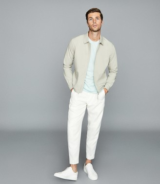 Reiss Flax - Lightweight Zip Through Jacket in Sage