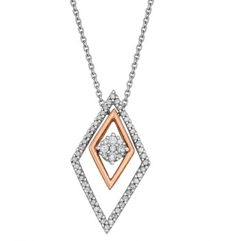 Unbranded Two Tone 10k Gold 1/5 ct. T.W. Diamond Interchangeable Pendant Necklace