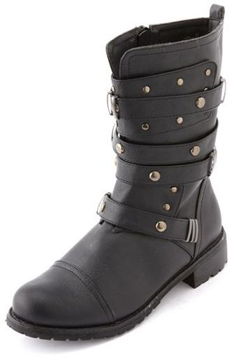 Charlotte Russe Strappy Studded Motorcycle Bootie